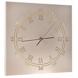 Light Up White Clock Wall-Hanging Painted Wooden Artwork with LEDs - 12 x 16