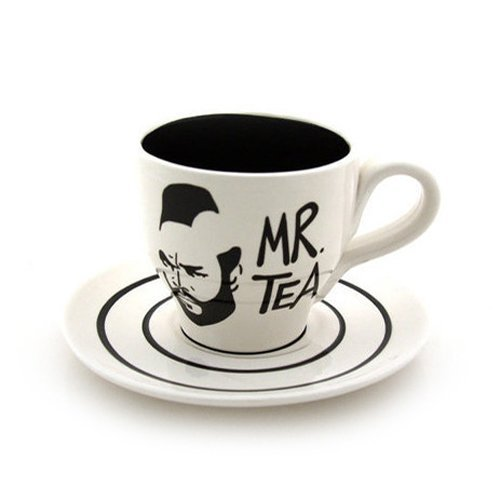 White Mr T Teacup Saucer product image