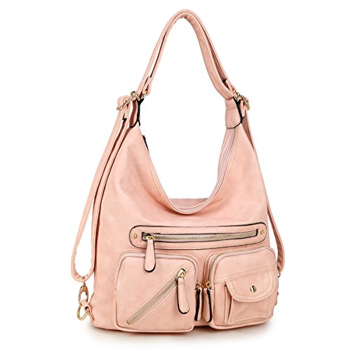 Accented Front Pocket Hobo (Dasein Classic Convertible Backpacks Soft Washed Leather Hobo Shoulder Bag Purse w/ Multi Pockets)