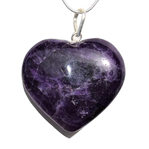 Selenite Charged Himalayan Dark Amethyst Heart Crystal Perfect Pendant + Free 20