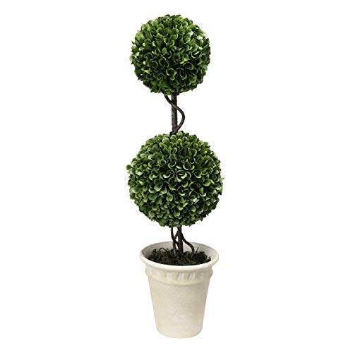 Double Sphere Topiary - A&B Home 22″ Faux Boxwood Double Sphere Topiary Green