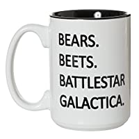 Bears Beets Battlestar Galactica Mug - The Office Fan Inspired - 15oz Deluxe Double-Sided Coffee Tea Mug