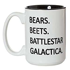 Bears Beets Battlestar Galactica Mug - The Office Fan Inspired - 15oz Deluxe Double-Sided Coffee Tea Mug