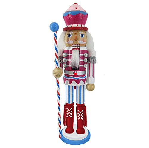 Christmas Holiday Wooden Nutcracker Figure Soldier with Pink, Blue, and White Uniform Jacket, Cupcake Hat, Red Boots & Silver Tassels with Sparkle Rhinestone Details, Exclusive Large 12 Inch