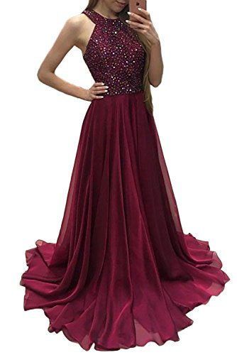 GMAR Halter Neck Beaded Prom Dresses Long Chiffon A Line Evening Party (Halter Brush Train)