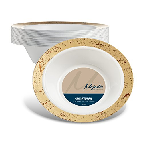 MAJESTIC 14-Oz. Plastic Soup Bowls | 20 Pack | White with Gold Speckled Rim | Disposable | For Weddings, Parties, Holidays & (Gold Small Rim Soup Plate)