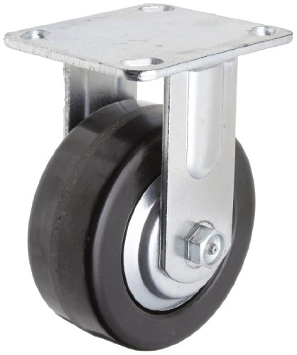 """RWM Casters 46 Series Plate Caster, Rigid, Thread Guard, Phenolic Wheel, Roller Bearing, 1000 lbs Capacity, 5"""" Wheel Dia, 2"""" Wheel Width, 6-1/2"""" Mount Height, 4-1/2"""" Plate Length, 4"""" Plate Width from RWM Casters"""