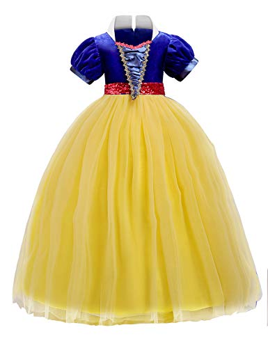 Quinee Fancy Dresses for Girls, Toddlers Bishop Sleeve Velvet Bodice Stand Collar Sequin Sash Ribbon Sash Fairy Ruffled Hem Pageant Prom Halloween Princess Maxi Dress Yellow 120(5-6Yr) -