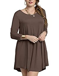 Womens Casual Loose 3/4 Sleeve Simple Plain Swing Flowy T-Shirt Dresses