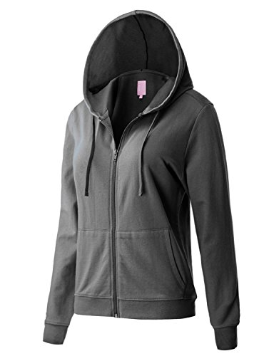 Regna X Women's Long Sleeve Casual Pullover Full Zip Hoodie Grey M by Regna X (Image #4)