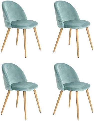 NA Set van 246 eetkamerstoelen van fluweel moderne vrijetijdsstoelen midden siglo gestoffeerde stoelen met metalen poten voor de woonkamer groen 4