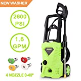 Fast High Pressure Power Washer 2600 PSI 1.6 GPM Electric Pressure Washer 1600W Professional Washer Cleaner Machine with with 5 Interchangeable Nozzles (2600 PSI) For Sale