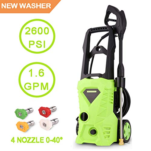 Cheap Moroly Electric Power Pressure Washer, 2600 PSI 1.6 GPM Power Washer 1600W High Pressure Cleaner Machine with Spray Gun and 4 Quick-Connect Spray Tips (2600-PSI)