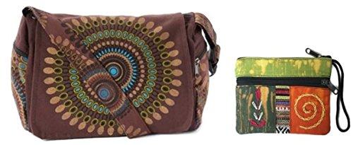 (Canvas Cotton Sling Boho Cross Body Shoulder Bag & Coin/Money Purse Bundle Nepal - Circle Geometric Design (Brown) )