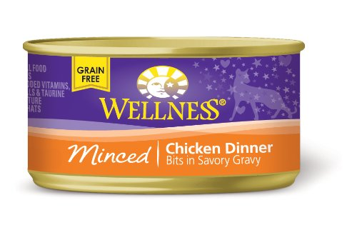 Wellness Canned Cat Food, Minced Chicken Dinner, 3-Ounce Cans, Pack of 24
