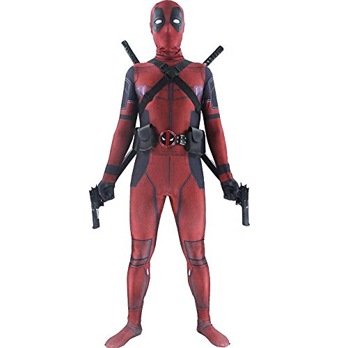 Marvel Deadpool Costume (Deadpool Spandex Zentai Halloween Cosplay Adult & Teen Unisex Marvel Costume)