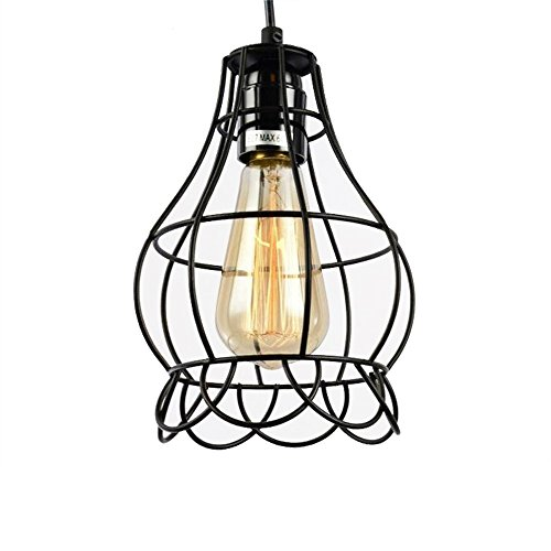 Sanguinesunny Pendant Light Ceiling Lamp Industrial Vintage Style Mini Hanging Lighting Lamp with Rose Wire Cage Guard 1-Light in Black Finish 40W 110V by Sanguinesunny (Image #7)