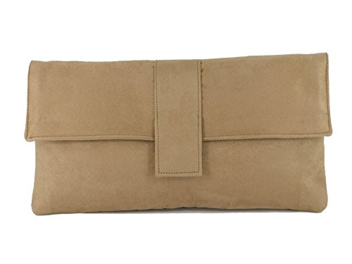 Loni - Bolso de mano (seda artificial, con tira para hombro) Camel Beige