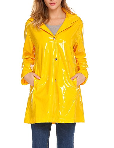 - Elesol Women's Plus Size Packable Raincoat Hiking Travel Hooded Rain Jacket Yellow/XL