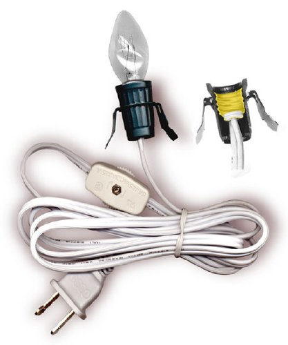 National Artcraft Replacement Cord Set With Clip-In Style Socket, Switch And Bulb. 6 Foot Length, (Wire Electric Socket)