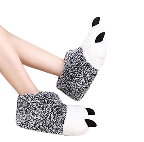 Crazy Lady Cartoon Funny Plush Slipper Unisex Warm Animal Alligator Winter House Plush Fluffy Shoe (38-39, Bear Claw Grey)
