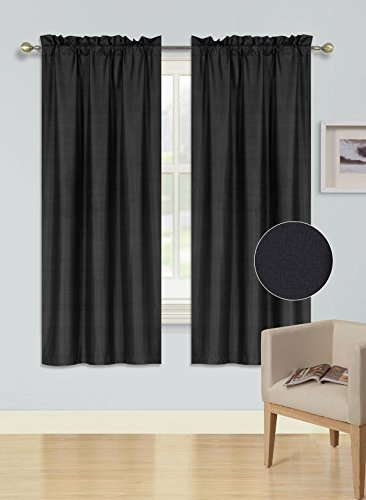 GorgeousHomeLinen 1PC Rod Pocket Solid Lined Foam Backing Blackout Window Curtain Panel Treatment Drape Smooth Touch (BLACK, PANEL R64 38