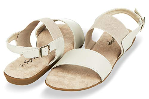 Elastic Foam Strap - Floopi Summer Sandals for Women | Cute, Open Toe Sandals| Comfy, Wide Elastic & Faux Leather Ankle Straps W/Buckle Design, Flat Sole, Memory Foam Insole (8, Grey-512)
