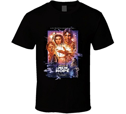 New Hope Star (Star War A New Hope 70's Classic Movie Poster Worn Look Cool T Shirt XL Black)