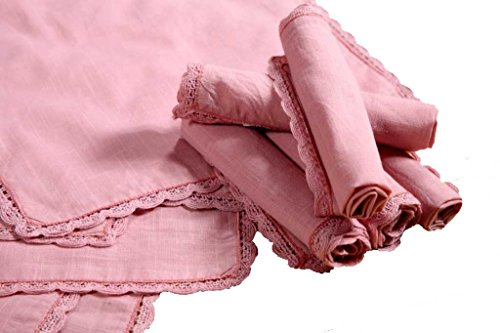 6Pack Slub cotton Bridal Handkerchief with Lace Nude color Size 12x12 inch
