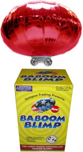 RED Radio-Controlled Baboom Flying Saucer (Indoor Blimp/Balloon) 27MHz RC UFO Red Mylar (Ufo Radio Controlled Toy)