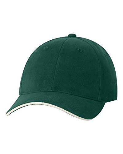 Brushed Cotton Baseball Cap With Smooth Consistency and Two Tone Trim on Bill - Forest Green/Natural