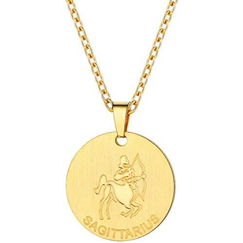 PROSTEEL Sagittarius Zodiac Star Sign Coin Necklace 18K Gold Constellation Horoscope Pendant Men Women Jewelry Birthday Gift