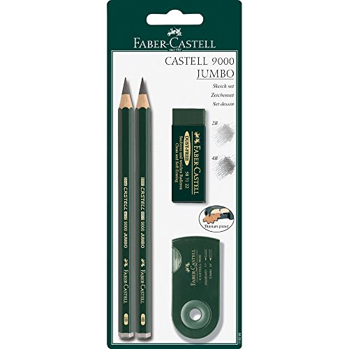 Faber-Castell 4 Piece Quality Castell 9000 Jumbo Graphite Pencils Blister Card Set, Including 2B, 4B, Double Hole Sharpening Box for Standard and Jumbo Black Lead Pencils and a, Dust-Free Vinyl Eraser