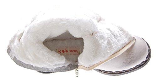TMA Damen Winter Stiefel Echt Leder Gefüttert Comfort Stiefeletten 5005 Schuhe Boots Gr. 36-42 Weiß-Creme
