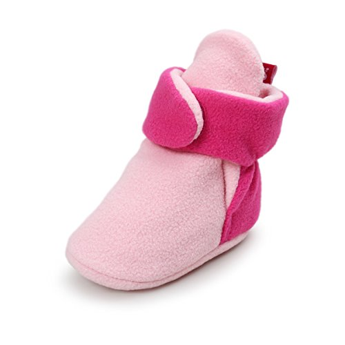 (Baby Boys Girls Cozy Fleece Booties With Non Skid Bottom Infant First Walker Sock Shoes(Light Pink/Dark Pink,13cm(12-18 months)))