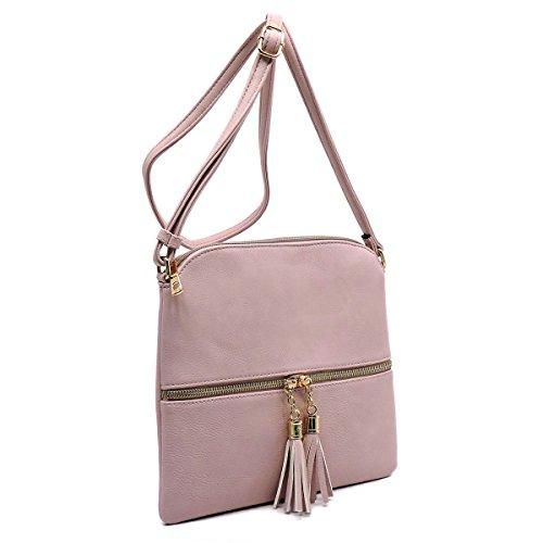 Tan Cross Tassel by Handbag Body Fashion with Glad Front Purse Zipper vqrFv