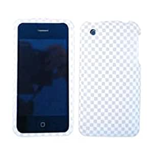 RUBBER COATED HARD CASE FOR APPLE IPHONE 3G 3GS TEXTURED GRAY WHITE CHECKERS