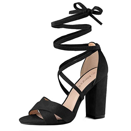 (Allegra K Women's Heeled Lace up Black Sandals - 8 M US )