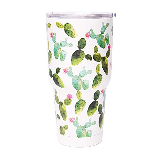 30 oz. Double Wall Stainless Steel Vacuum Insulation Travel Mug Crystal Clear Lid Water Coffee Cup - Works Great for Ice Drink, Hot Beverage (cactus)