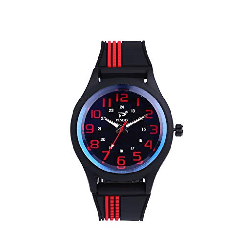 Fxbar Watches For Men Classic Leisure Design Silicone Band Quartz Band Perfect for Daily Use(Red)