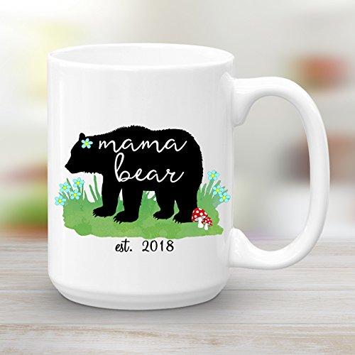 Mama Bear est. 2018, Large 15 oz Ceramic Coffee Mug, Baby Shower Gift New (Baby Shower Coffee)