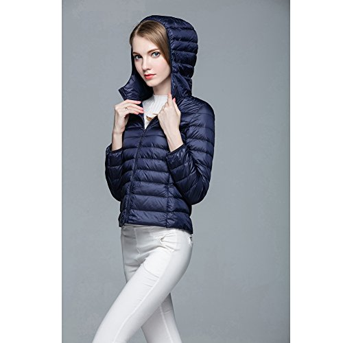 Down Hooded Coat Ultra Short Jacket Lightweight 1 Navy Women's Puffer qwyPpCH6UU