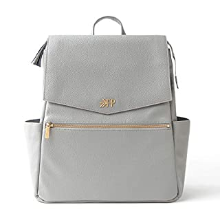 Freshly Picked - Convertible Classic Diaper Bag Backpack - Large Internal Storage 10 Pockets Wipeable Vegan Leather - Stone Gray