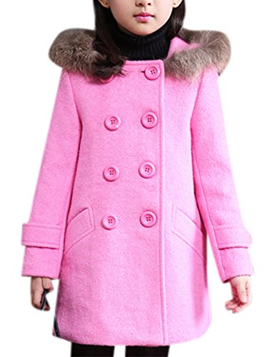 Girl's Cute Double Breasted Wool Short Dress-coat Warm Thick Outwear with Fur Trim Hood 130 Hot Pink