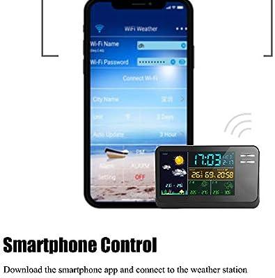 VANLAMP WiFi Estación Meteorológica con Sensor Inalámbrico para Exteriores, App para Smartphone Inteligentes Controlado 3 días Pronóstico del Tiempo Interior Termómetro Higrómetro: Amazon.es: Hogar