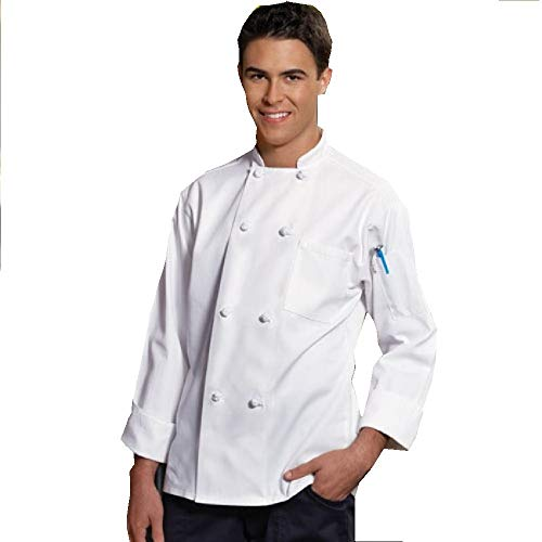 8 Knot Button Chef Coat White, with Free Black Bib Apron (4XL)