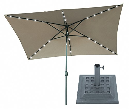10' x 6.5' Tan Rectangular Solar Powered LED Lighted Patio Umbrella with Gray Square Base - By Trademark Innovations