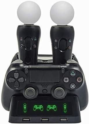 chenlan 4 en 1 cargador de escritorio de base de carga cuádruple para PS Move Motion y PS4 Controller Playstation 4 PS4 Slim PS4 Pro: Amazon.es: Electrónica