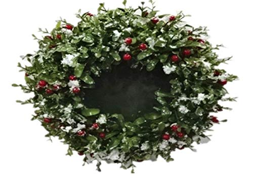 (Snowy Christmas Boxwood Red & Green Candle Ring/Planter 11