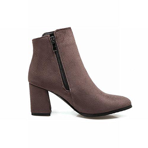 Grey Shoes Zip Chunky Boots Mid Sweet Short Heel Women's Mee PqzdTT